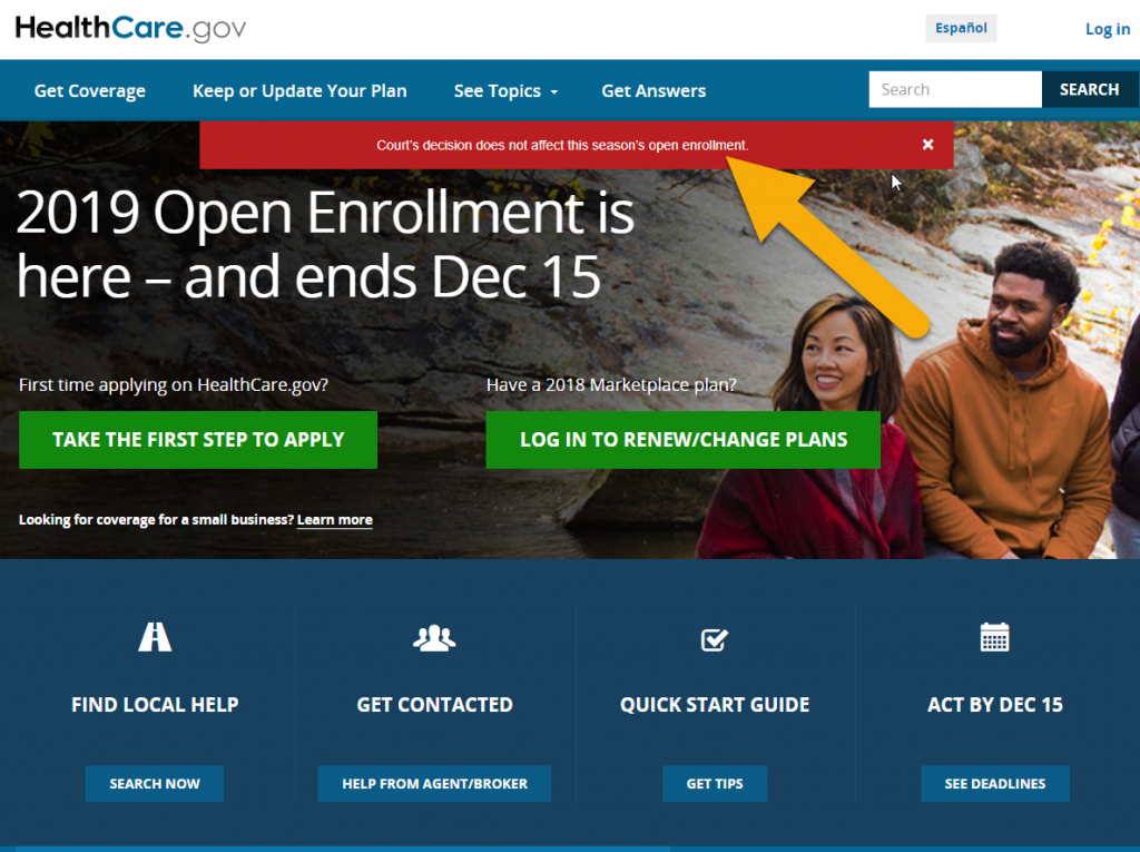 Screen Shot of Affordable Care Act Website